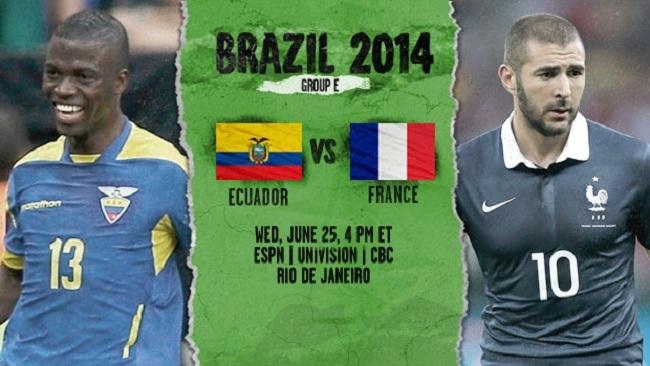 گزارش زنده بازی اکوادور – فرانسه جام جهانی ۲۰۱۴