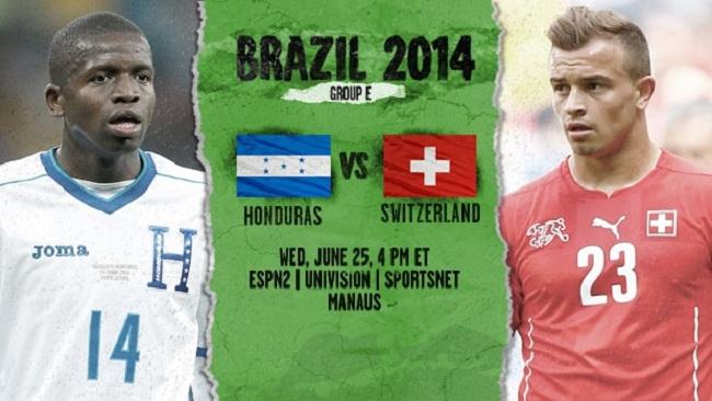گزارش زنده بازی هندوراس – سوئیس جام جهانی ۲۰۱۴
